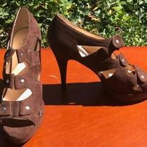 Guess Nataline Brown Fabric Lace Up Gladiator Open Toe Heels Pump Size 9 M Photo