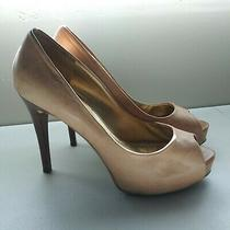 Guess Natural Leather Tan Stiletto Peeptoe Pump Sz 8-1/2 Med Heel 5 In Photo