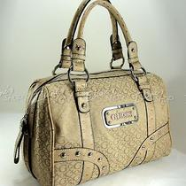 Guess Network Vo211119 Moose Faux Ostrich Trim Purse Tan Handbag Satchel Bag New Photo