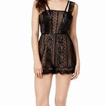 Guess New Black Women's Size 8 Lace Overlay Double Strap Eyelash Romper 98 367 Photo