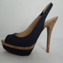 Guess New Blue Crok Slingback Heels  Size 8 Photo