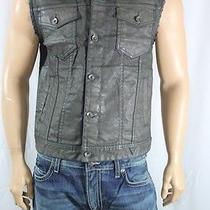 Guess New Men's Dillon Denim Vest in Suspension Wash 4 Pkt Green Sz M Solid Photo