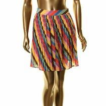 Guess New Women's Multi Color Metallic Striped a-Line Pleated Skirt 25 Tedo Photo