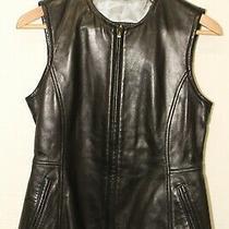 Guess New Womens Medium Black Leather Zip Front Top Moto Vest  Photo