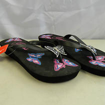 Guess New Womens Sea Spray Black Wedge Thong Sandals 8 M Shoes Photo