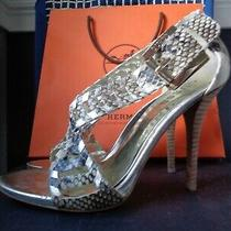 Guess Nude/gold Lizzard Stiletto Sandals Sz 7 Photo