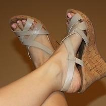 Guess Nude Leather Cork Wedge Platform Sandals Shoes 6.0 6 Photo
