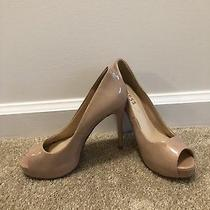Guess Nude Patent Stilettos Open Peeptoe Pump Heels Size 7 Photo