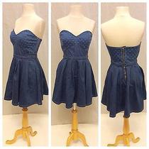 Guess Nwt Sexy Blue Jean Strapless Corset Polka Dot Cute Tea Party Dress 4 160 Photo