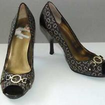 Guess Open Toe Pumps Brown Gold Accent High Heel Shoes 8.5 M Womens Sexy Photo