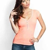 Guess Orange the Perfect Henley Top Sz Small Photo