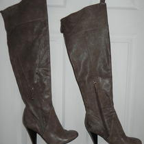 Guess Otk Over the Knee Thigh High Tall Boots Zippers Leather Womens 9 Tan  Photo