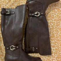Guess Over the Calf Brown Leather Boots Gold Detail 8 Womens  Photo