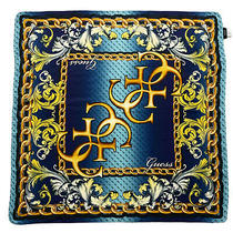 Guess Paisley Monogram Blue Shawl Modal Scarf 34 Inches Made in Italy Photo