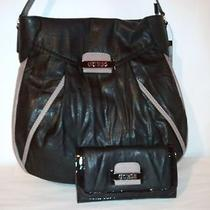 Guess Parisian Chic Black Hobo Handbag With Matching Checkbook Wallet Nwt Photo