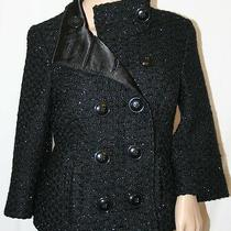 Guess Peacoat Cropped Short Trench 3/4 Sleeve Black Military Button Up Wool M Photo