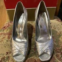 Guess Peep Toe Heels Pumps Silver Sexy Size 9 M Photo