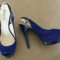Guess Peep Toe Pumps 7 1/2 Blue Photo