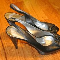 Guess Peep Toe Slingback Heel- Black Leather Size 9 Photo