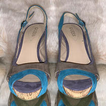 Guess Peep Toe Suede Heels  - Size 9m - Excellent Preowned Condition Photo