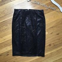 Guess Pencil Skirt Textured Snakeskin Print Velvety Blue Black Slit Thigh Small Photo