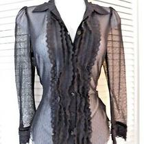 Guess Petites Size S/p Black Sheer Nylon Mesh Ruffle Front Cuffs Buttonfront Photo