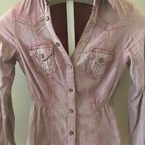 Guess Pink Fitted Denim Shirt Size Small Photo
