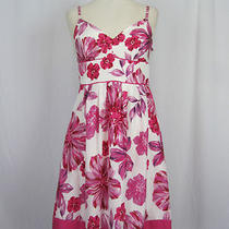 Guess Pink Floral Print Adjustable Spaghetti Straps Fitted Bust Dress 9 Photo