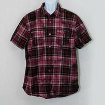 Guess Plaid Tie Dye Button Down Shirt Red Short Sleeve Up Casual Mens Xl 0308 Photo