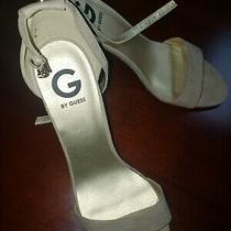 Guess Platform Cork Open Toe Wedge Beige Leather Ankle Strap Sandals Womens 10m Photo