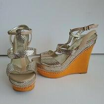Guess Platform Metallic Silver Real Leather Wedge Open Toe Orange Gold Sandals Photo