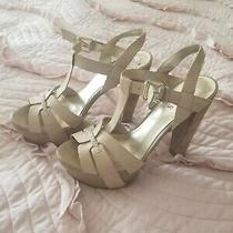 Guess  Platform Sandal Ankle-Strap Charm  Textured Beige Size 7  Photo