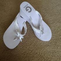 Guess Platform White Sandals Back Up Wedding Shoes Cute Lightweight Comfortable  Photo
