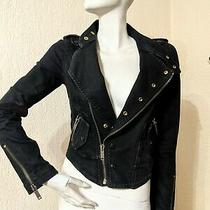 Guess Premium Women Black Denim Jacket Side Zip Biker Military Jean Rare Size Xs Photo