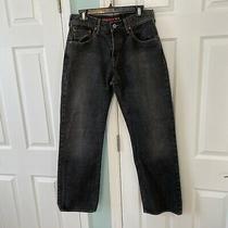 Guess Premium Women's Black Straight Leg Denim Jeans Size 31 Button Closure Photo