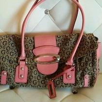 Guess Purse Adorable Tan With Fun Pink Accent Photo