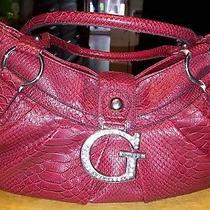 Guess Purse Red Large Leather With Zipper Closure Rhinestone Latch Snake Skin De Photo