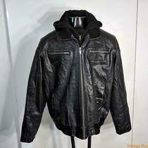Guess Pvc Faux Leather Bomber Jacket Mens Size Xxl 2xl Black Insulated Hood Photo