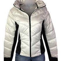 Guess Quilted Puffer Packable Jacket White/black  W/bag & Hood Womens Sz L New. Photo