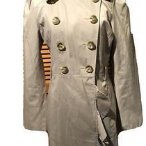 Guess Raincoat Trench Beige Ruffle Sz Medium No Belt Excellent Photo