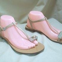 Guess Raves Leather Sandals Toe Ring W/ Jewel Ankle Strap Flata 8 1/2 Beige Photo