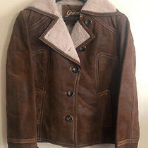 Guess Real Leather Jacket Size Us Large Winter Ladies Brown U.k. Medium Photo