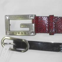 Guess Red Embossed & Nine West Black Silver Womens Belts Large Photo