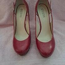Guess Red Patten Leather Rounded Toe Heels 3-4