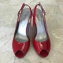 Guess Red Pump Shoes Verniz Wood High Heels Size  8.5 Photo