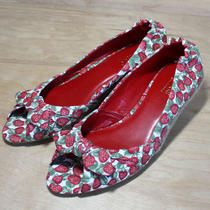 Guess Red Strawberry Espadrille Wedge Sandals Photo