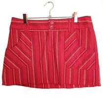 Guess Red Striped Mini Skirt Size 28 Photo