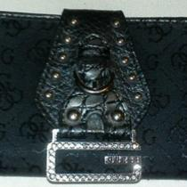 Guess Rhinestones G Logo Print Black Wallet With Coin Zipper  Photo