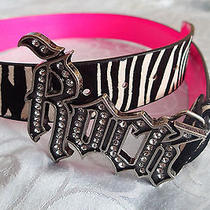 Guess Rock Belt Zebrablackwhitemedleatherpinkrhinestones Photo