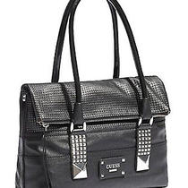 Guess Rock Geo Foldover Satchel Bag - Black Photo